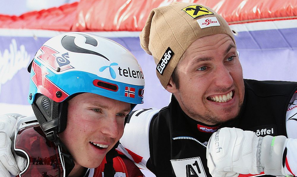 Henrik Kristoffersen und Marcel Hirscher 2015 © Kraft Foods Europe Services GmbH / GEPA pictures Andreas Pranter