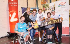 v.l.n.r.: Matthias Wastian (Sitting Bulls), Andreas Zankl (Teammanager RBB-Nationalteam), Andreas Onea (Para-Schwimmer u. #BeActive Botschafter), Matias Costa (ÖBSV), Christoph Edler (RBB FlinkStones), Sebastian Eggert (RBB-Koordinator) - FOTO © BSO/Hagen