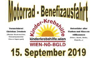 Motorrad-Benefizausfahrt zu Gunsten der Kinderkrebshilfe am 15. September
